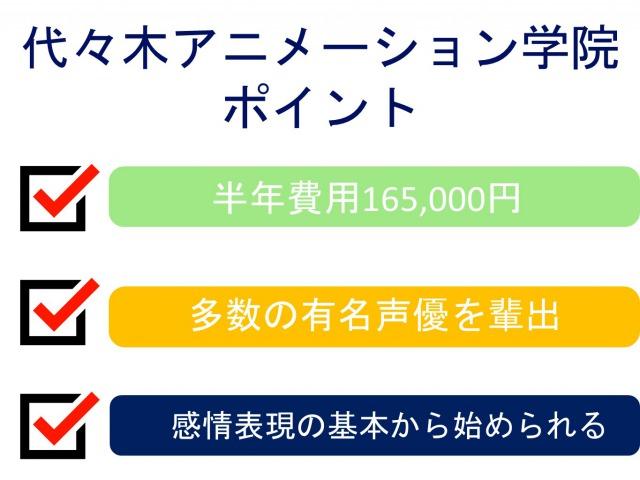 1位 週1コース 代々木アニメーション学院(入所金3.3万円、半年受講料13.2万円)